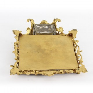 Antique French Louis Revival Ormolu & Sevres Porcelain Inkstand 1870 19th C