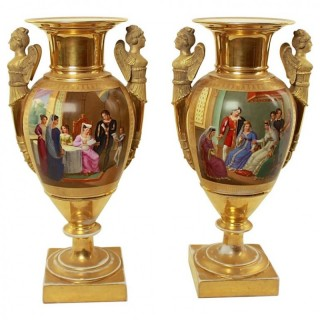 Pair of Early 19th Century French/Paris Empire Neoclassical Porcelain Vases depicting Historical Figural Scenes