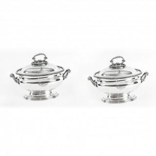 Antique Pair Sauce Tureens Entree Dishes Elkington C1860 19th Century