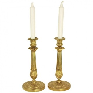 Pair of French Early 19th Century Empire/Charles X Gilt Bronze Candlesticks