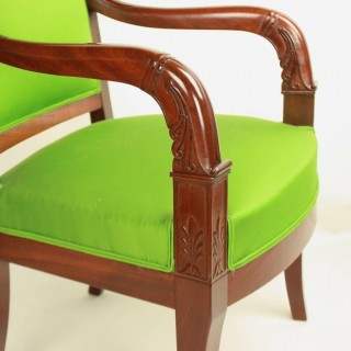 Pair of French Empire Period Armchairs or Fauteuils in the Manner of Jacob Desmalter (1770-1841)