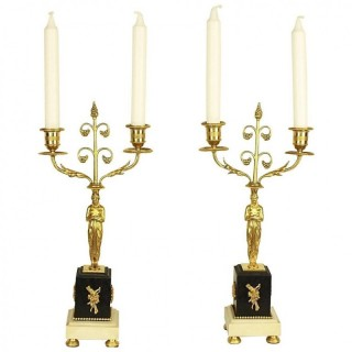 Pair of French Louis XVI Style Two-Light Gilt Bronze Candelabra