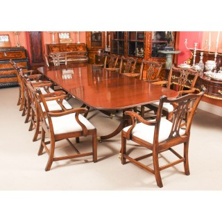 Antique George III Regency Dining Table C1820 19th C with 10 Dining Armchairs