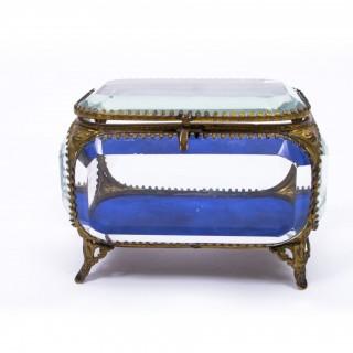 Antique French Ormolu & Glass Table Wedding Casket c1880