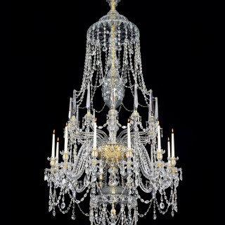 AN HIGHLY IMPORTANT ENGLISH CUT GLASS GEORGE III PERIOD TWELVE LIGHT CHANDELIER ATTRIBUTED TO WILLIAM PARKER