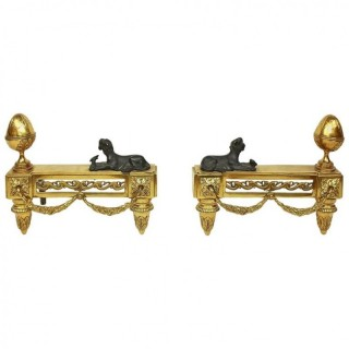 Pair of French 19th Century Louis XVI Style Chenets or Andirons