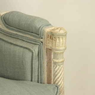 French Louis XVI Style Paintwood Armchair or