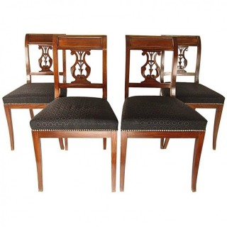 Set of Four French Late 18th Century Side Chairs with Brass banding