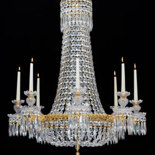 A FINE EIGHT LIGHT REGENCY CHANDELIER ATTRIBUTED TO HANCOCK & RIXON