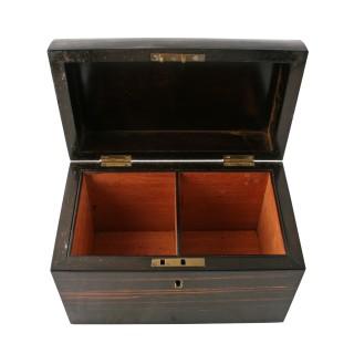 Victorian Brown Ebony Tea Caddy