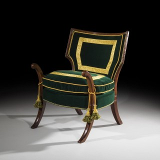 Rare Regency Officer's Klismos Armchair