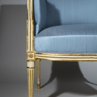 Fine Pair of George III Cream Painted and Parcel Gilt Armchairs