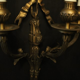 French Triple Arm Gilded Antique Wall Sconces