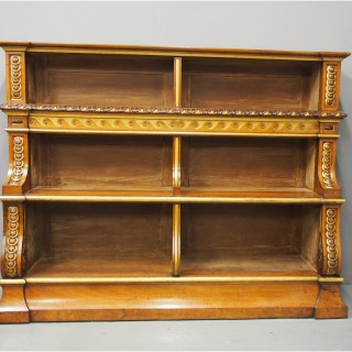 Victorian Carved and Gilded Waterfall Bookcase