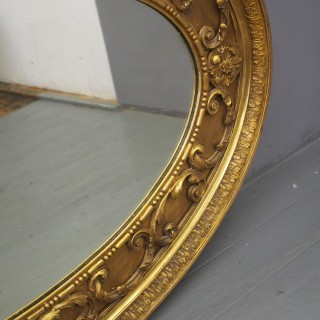 Victorian Carved Giltwood and Gesso Oval Mirror