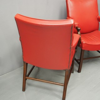Pair of Red Leather Chairs by Whytock and Reid
