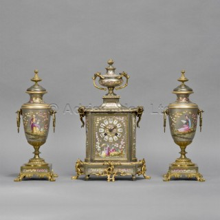A Napoléon III Porcelain Clock Garniture
