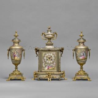 A Napoléon III Porcelain Clock Garniture