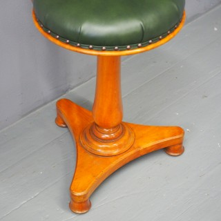 Tall Victorian Satin Birch Music Stool