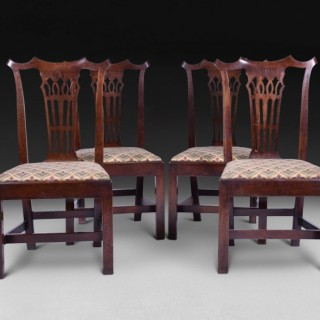 Set of four Chippendale period Mahogany Dining Chairs