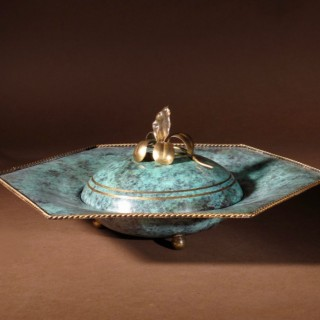 An Elegant Art Deco Patinated and Gilded Brass Bonbonniere Circa 1920-1940
