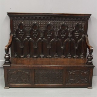 Gothic Oak Hall Bench
