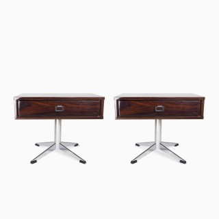 Pair of French Modernist Rosewood and Chrome Night Stands