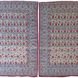 Pair of Tehran rug, wool and silk highlights