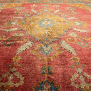 Rare square Antique Oushak carpet