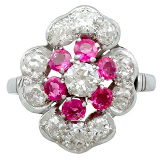 0.72ct Ruby and 1.63ct Diamond, Platinum Dress Ring - Vintage Circa 1940
