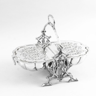 Antique Victorian Silver Plated Shell Folding Biscuit Box Walker and Hall 19thC