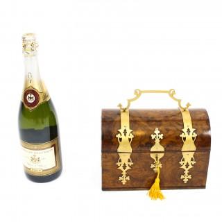 Antique Burr Walnut & Brass Box Casket with Key Ca 1860 19th Century