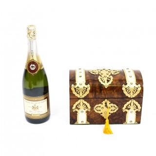 Antique Burr Walnut, Ivorine & Brass Box Casket with Key Ca 1870 19th Century