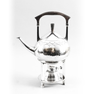 Art Nouveau Silver Plate Spirit Kettle on Stand c.1900