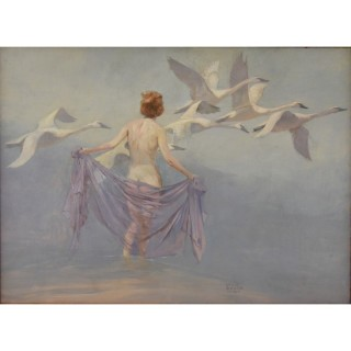 Art Deco painting nude with swans Lynn Bogue Hunt