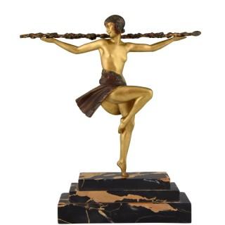Art Deco bronze sculpture nude dancer with Thyrsus
