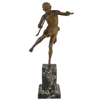 Art Deco bronze sculpture dancing satyr with flutes