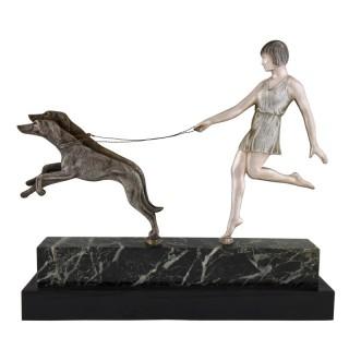 Art Deco bronze sculpture girl with dogs