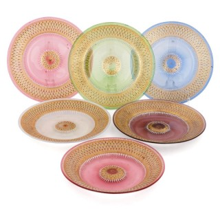 Set of six enamelled and parcel gilt coloured plates by Brocard