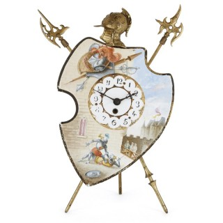 Antique gilt bronze and porcelain mantel clock with chivalric scenes