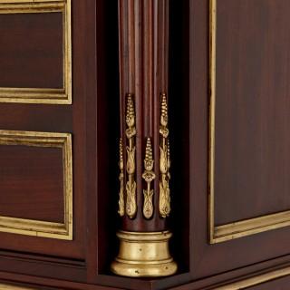 19th Century mahogany, marble and gilt bronze cabinet