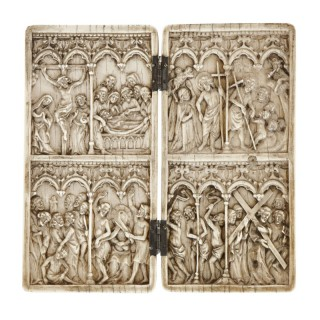 19th Century ivory diptych carving with religious scenes