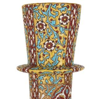 Antique glazed terracotta bottle vase by Massier