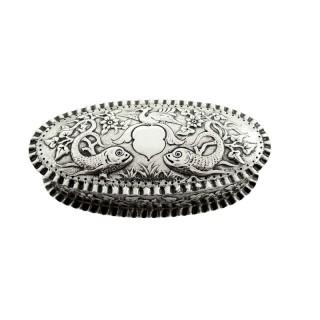 Antique Victorian Sterling Silver 'Fish' Trinket Box 1881