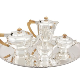 Sterling Silver Four Piece Tea and Coffee Service with Tray - Vintage George VI (1936 / 1940)