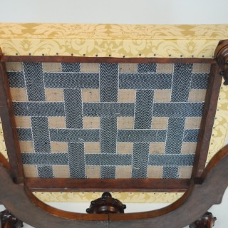 Early 19th century walnut Stool with ebonized detail
