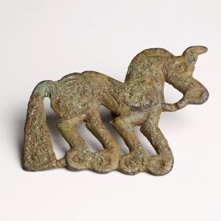 Ordos Bronze Large Horse Belt Plaque