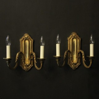 French Pair Of Bronze Twin Arm Wall Lights
