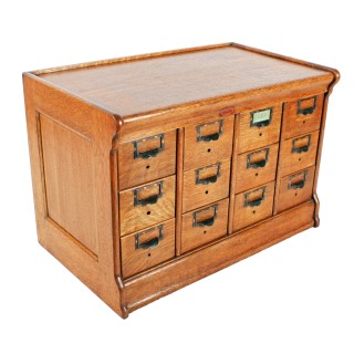 Oak Twelve Drawer File Cabinet