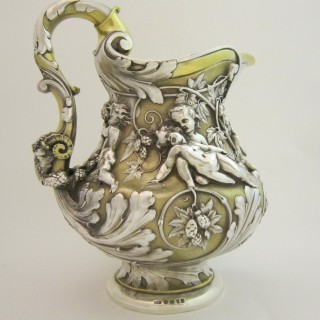 Antique Victorian Sterling silver wine jug
